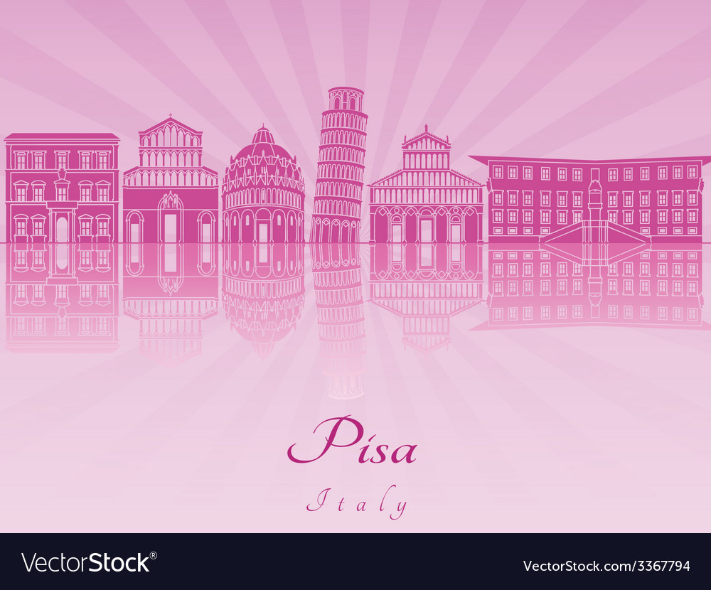Pisa skyline in purple radiant orchid vector image