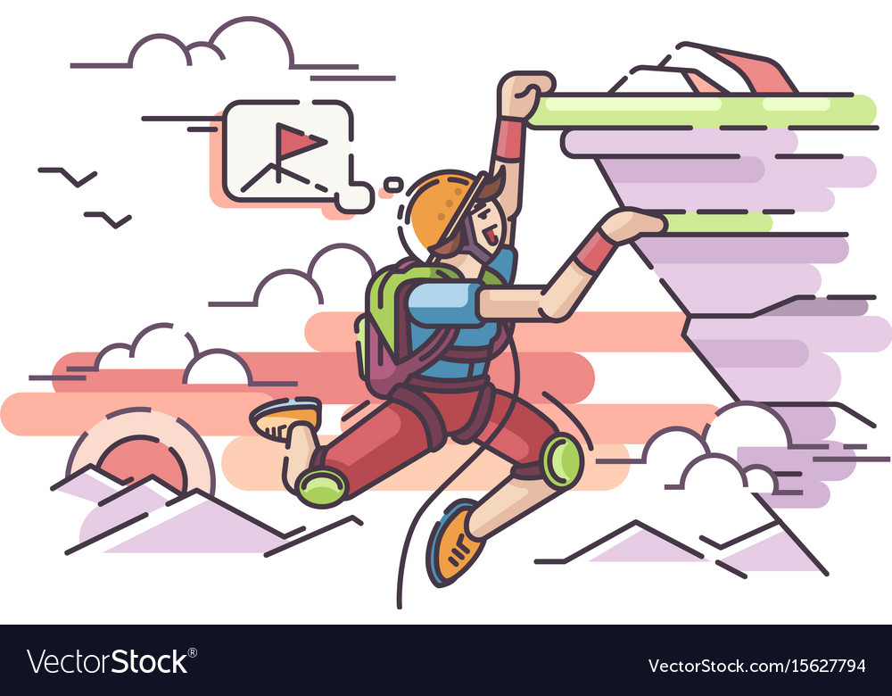 Rock climber hanging on cliff vector image