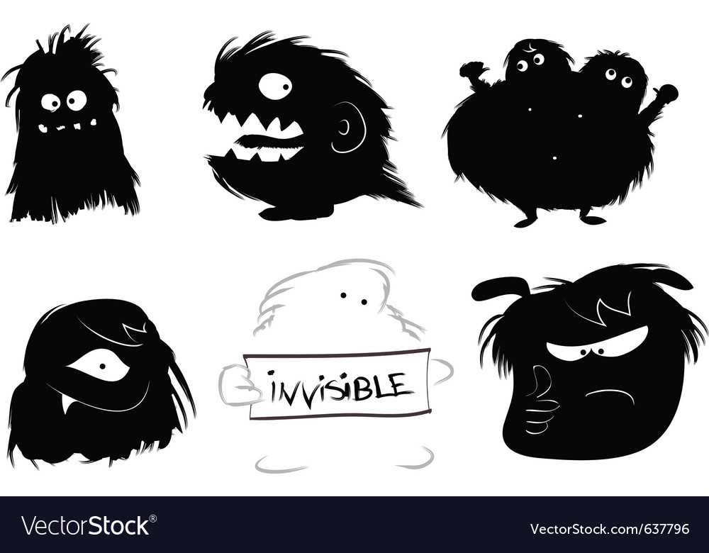 Hairy monsters vector image