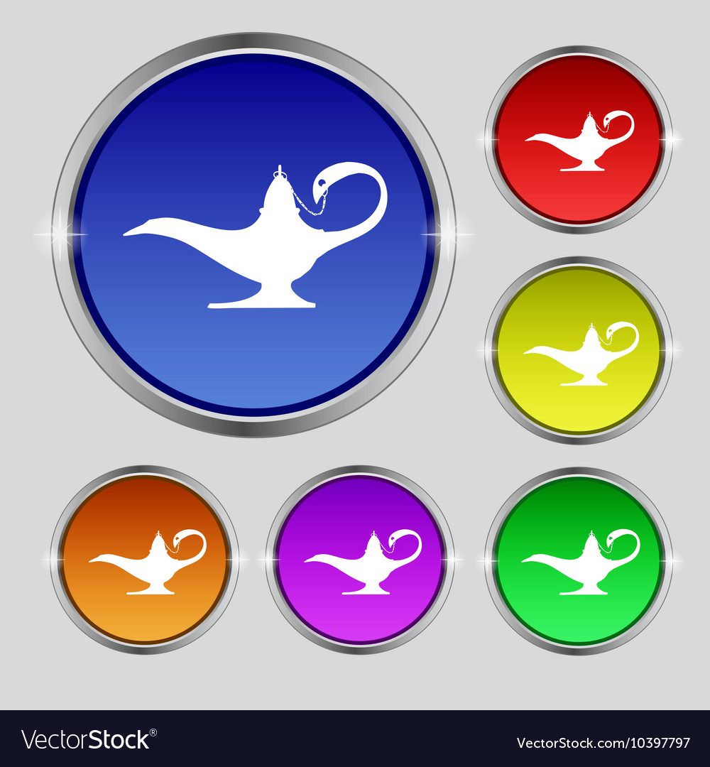 Alladin lamp genie icon sign Round symbol on Vector Image for Genie Icon  146hul