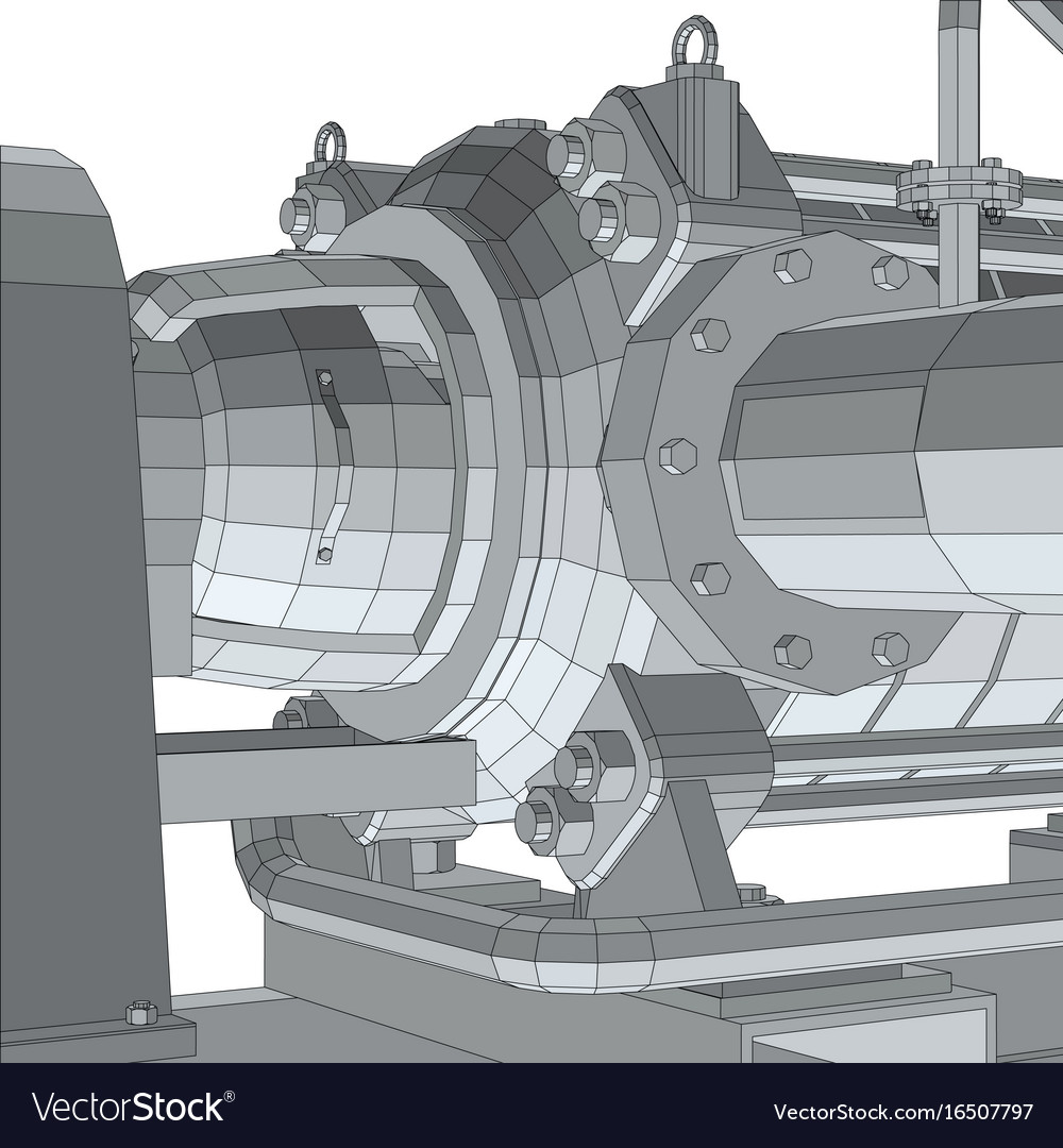 Industrial equipment pump wire-frame eps10 vector image