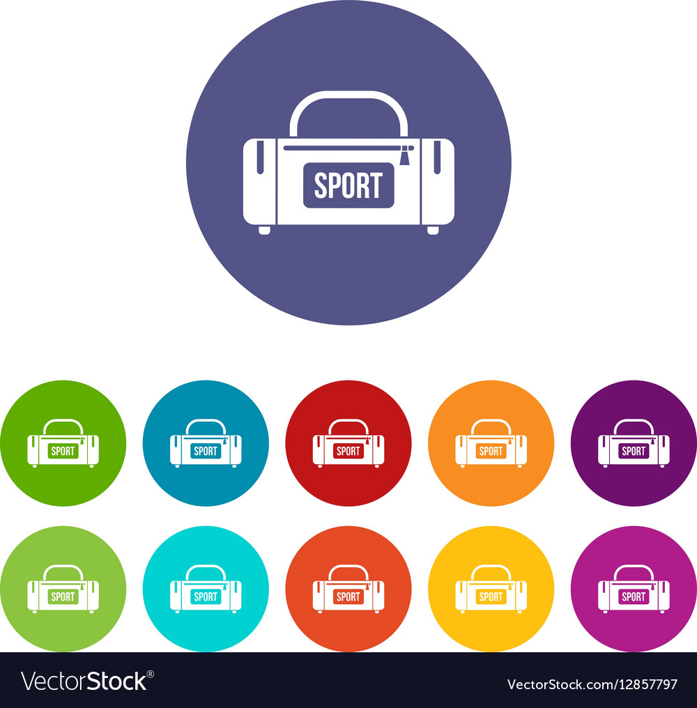 Large sports bag set icons vector image