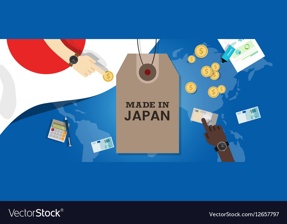 Made in Japan stamp price tg flag world map vector image