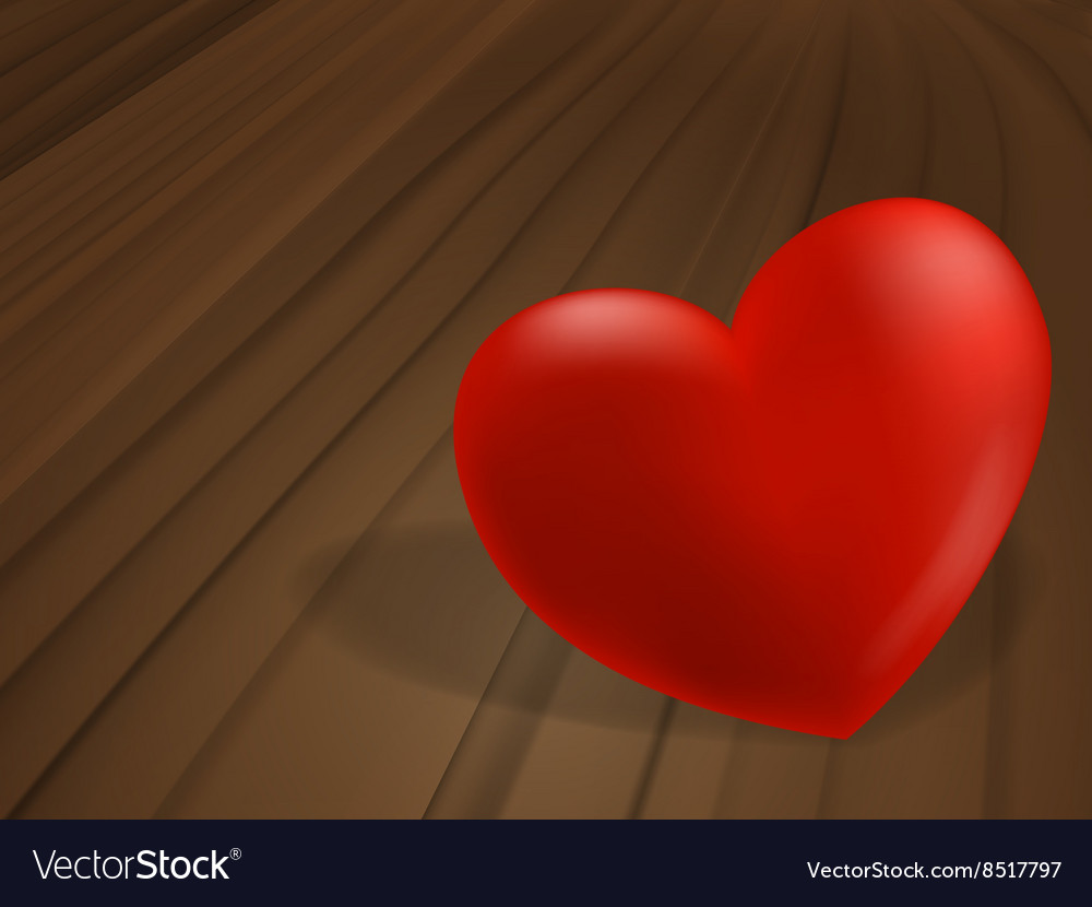Red heart on wooden desk vector image