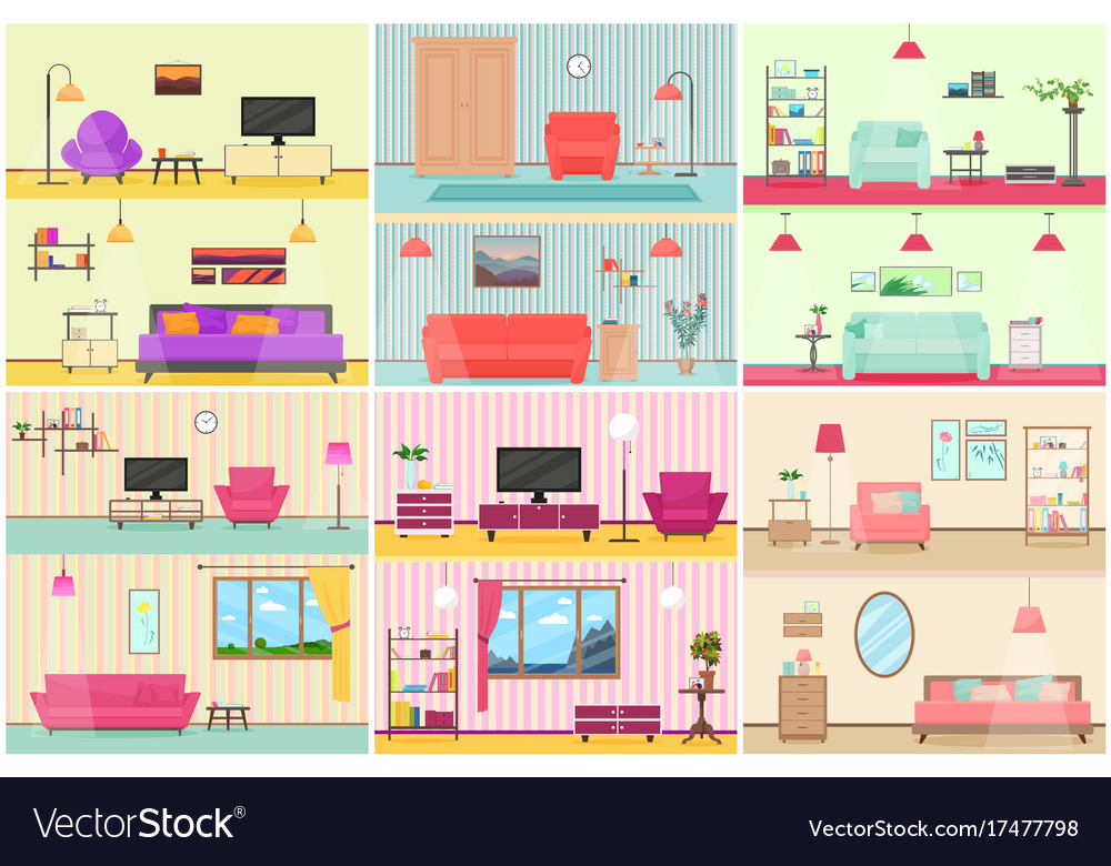 Various flat cartoon vector image