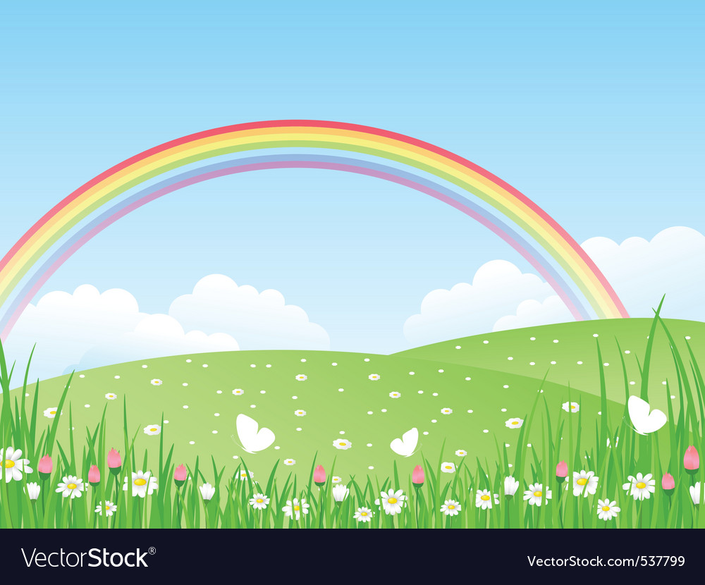 Beautiful summer landscape wit Vector Image