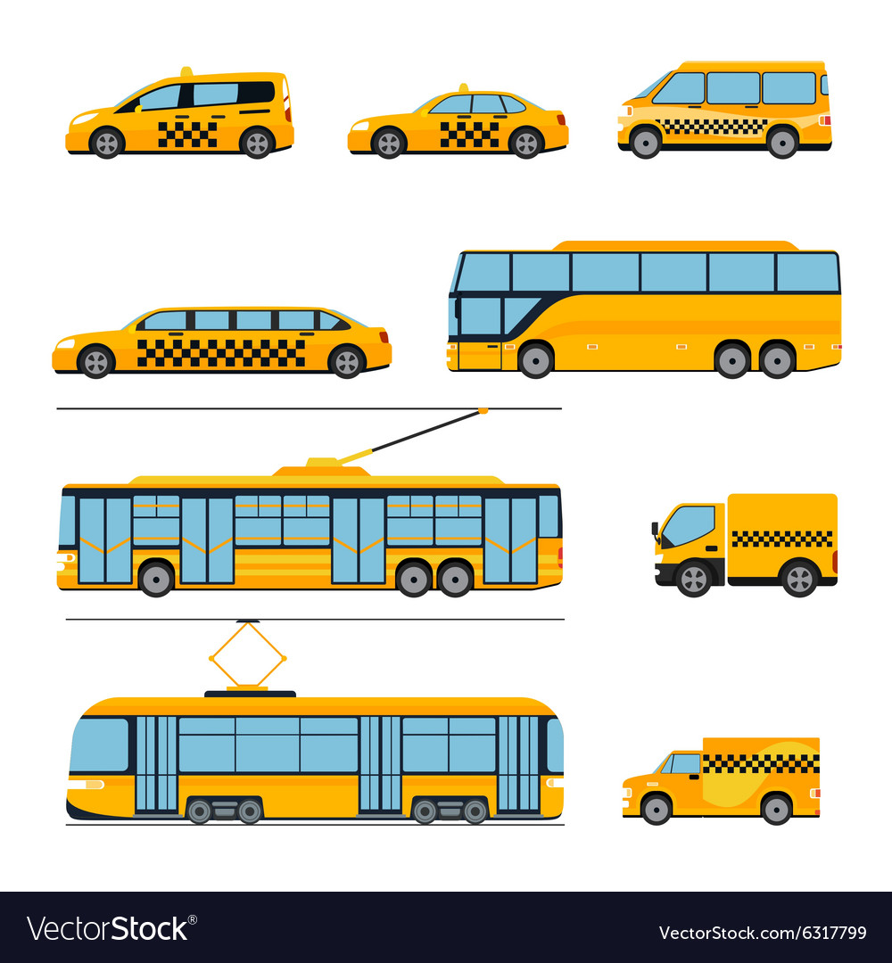 City public transport icons flat set Urban vector image