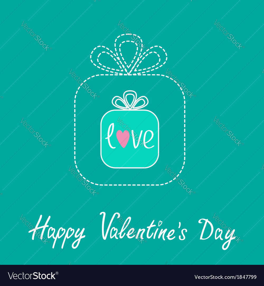 Small gift box in the big gift box Dash line vector image