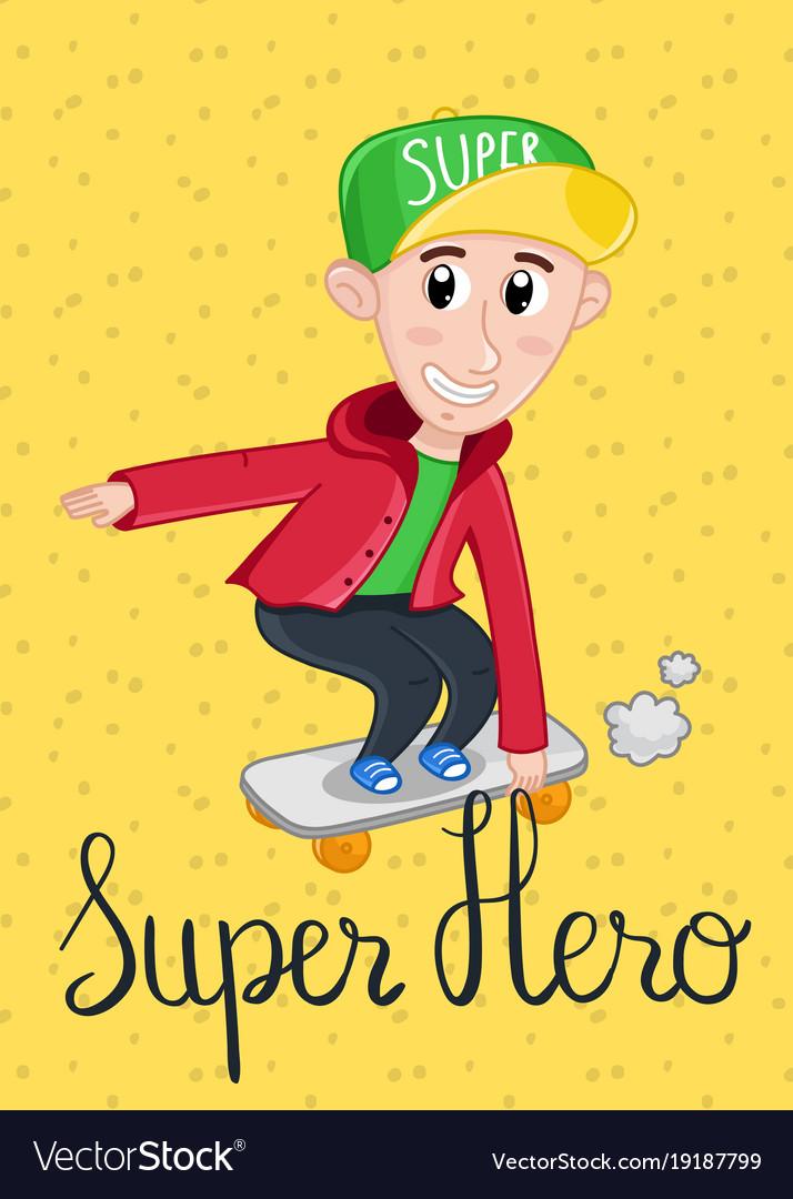 Super Hero Kids Postcard Template Vector Image