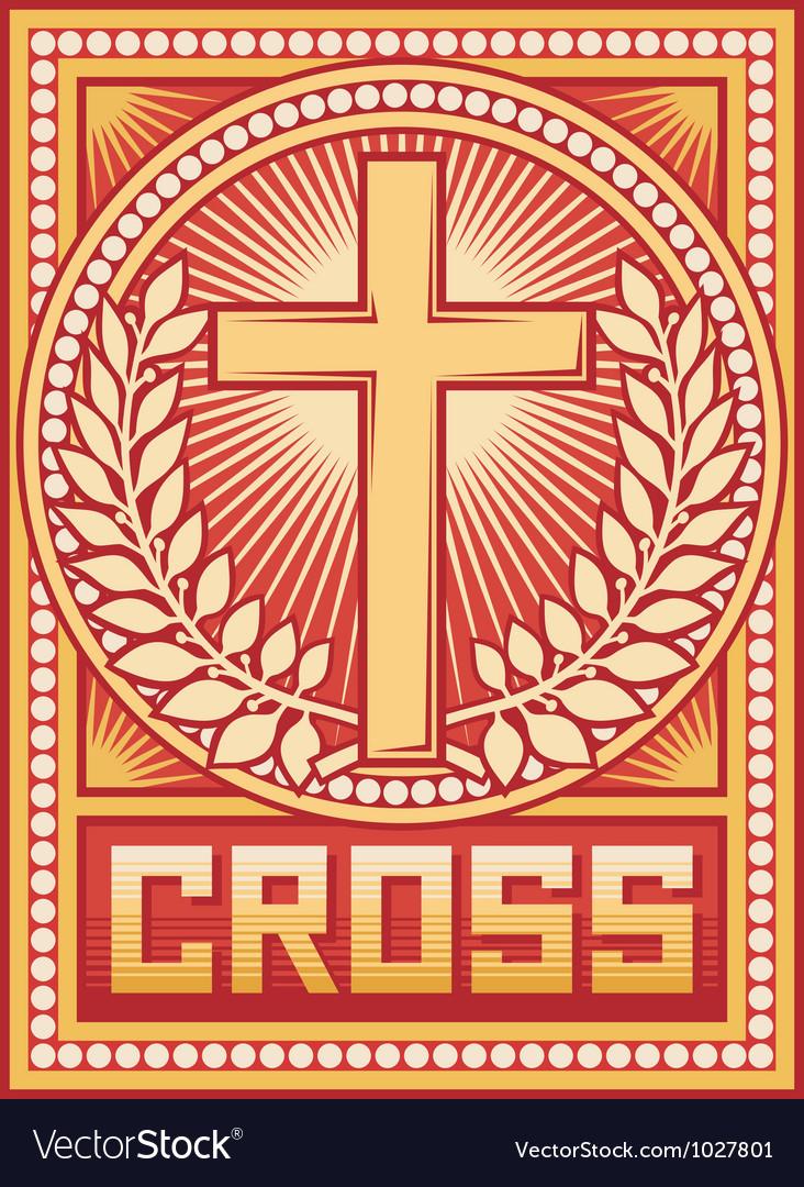 Christian cross poster vector image