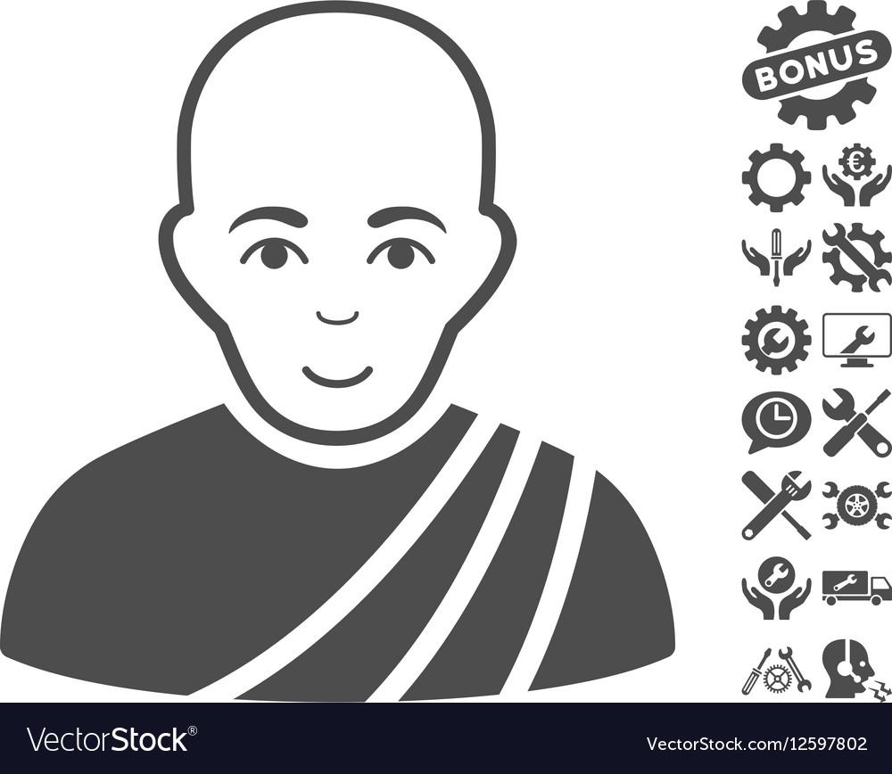 Buddhist Monk Icon With Tools Bonus vector image