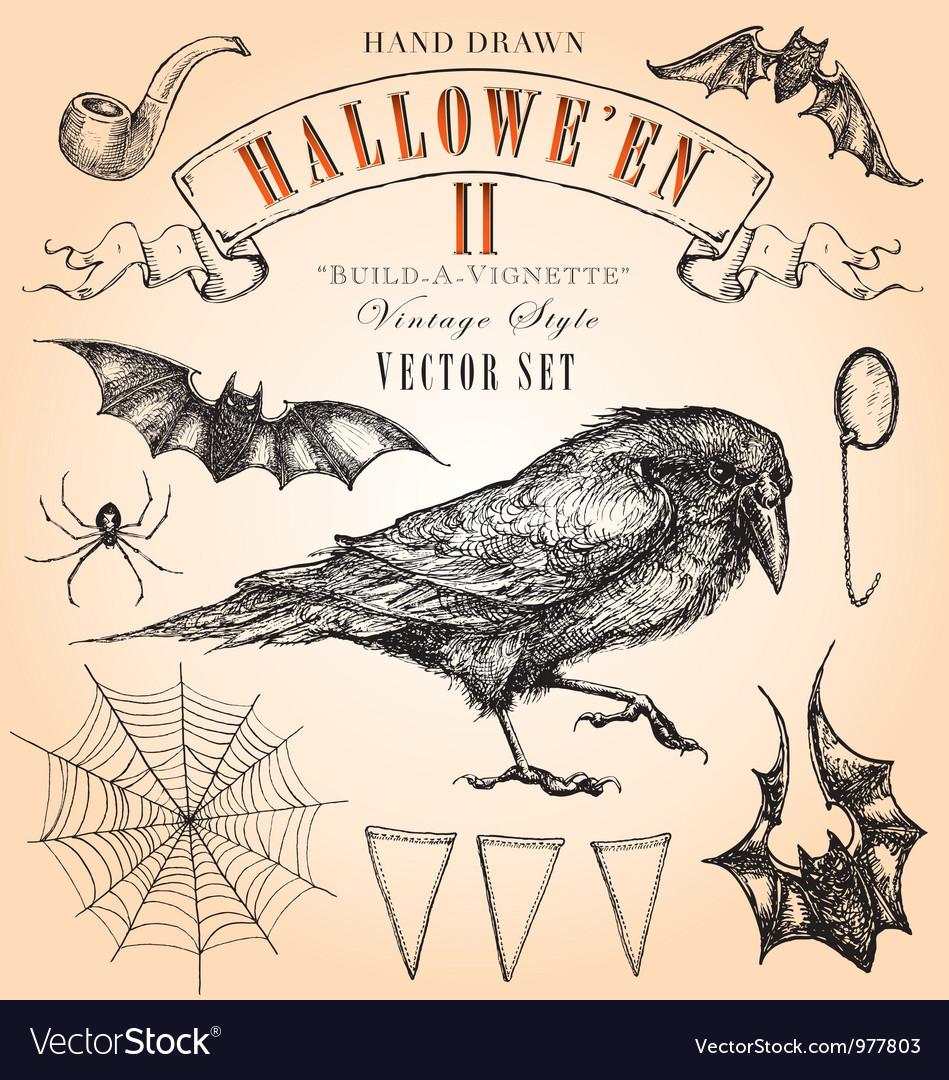 Vintage Halloween Set vector image