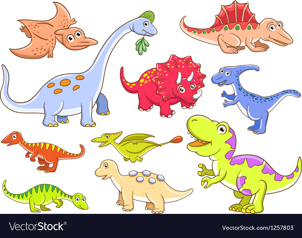 Cute dinosaurs set vector image