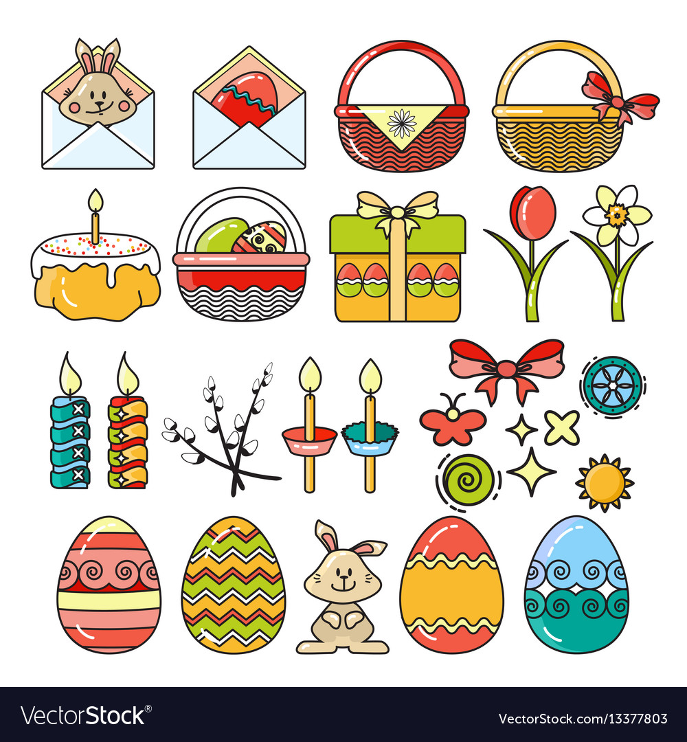 Set easter icons vector image