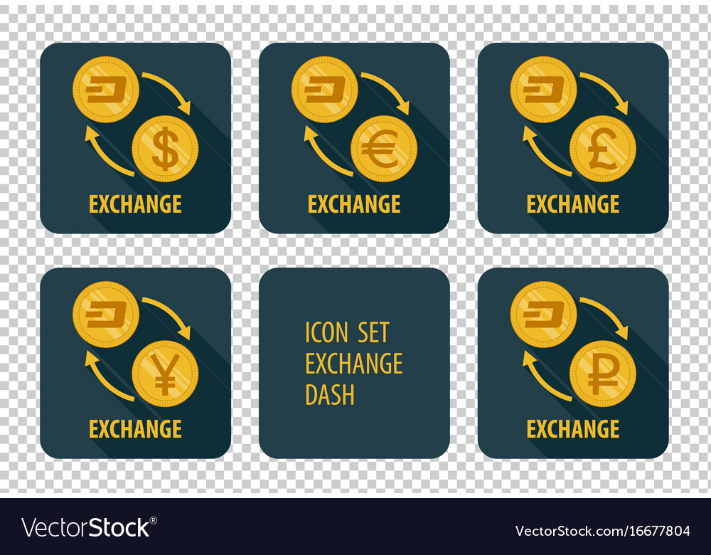 Exchange of cryptocurrency dash icons on a dark vector image