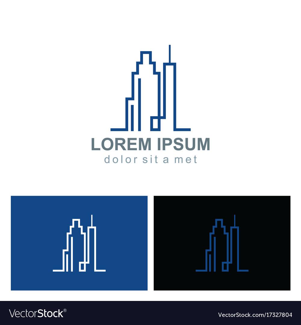 Line building cityscape logo vector image