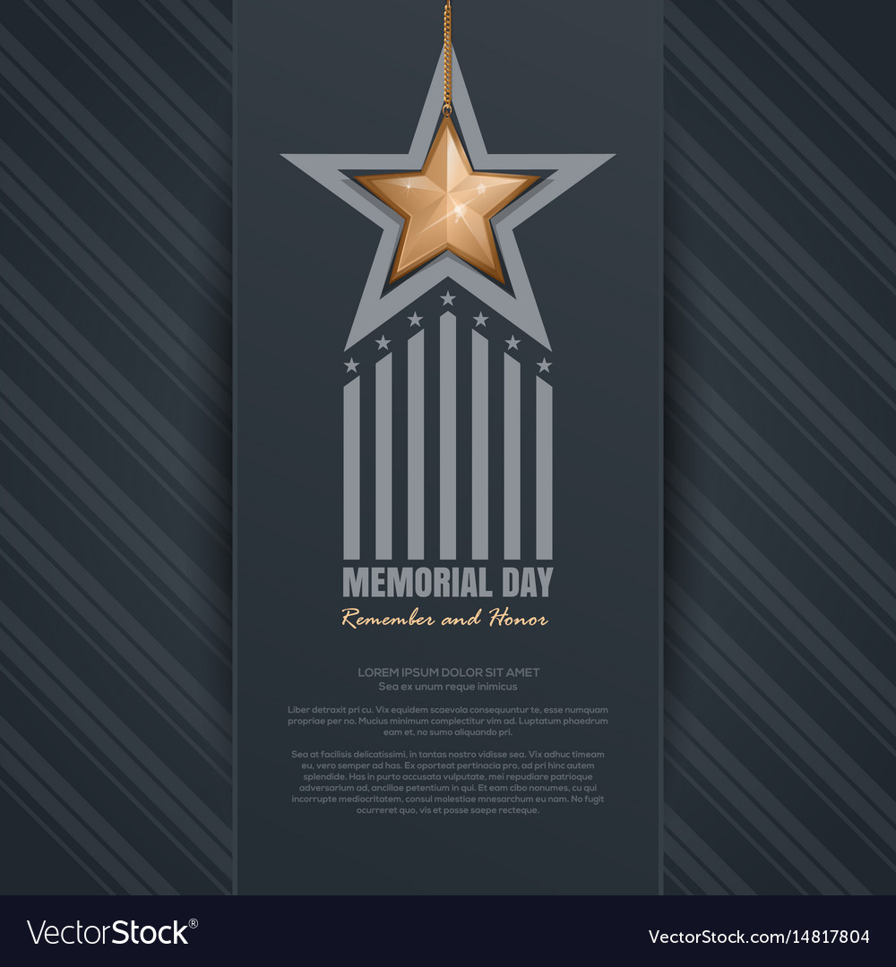 Memorial day design remember and honor vector image