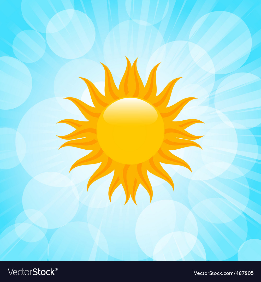 Summer sun in blue sky vector image