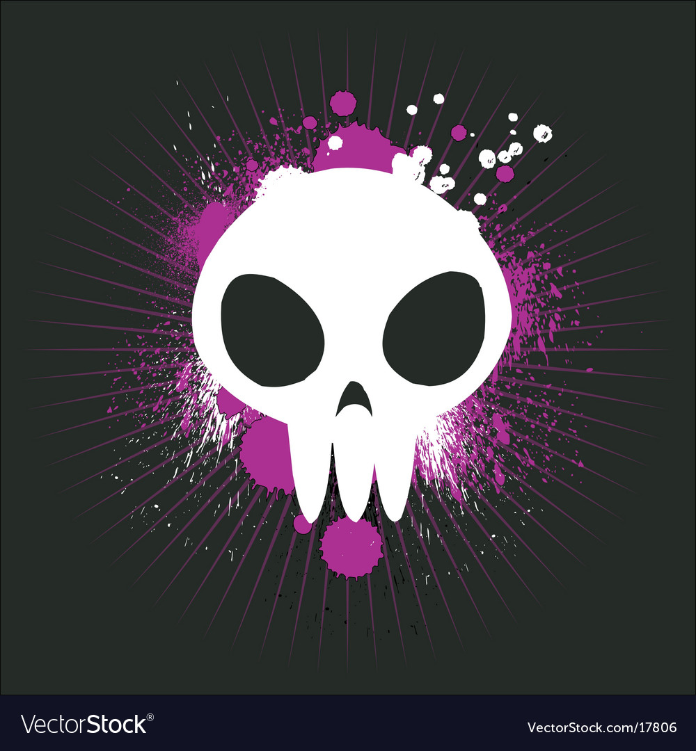 Cute graffiti skull vector image