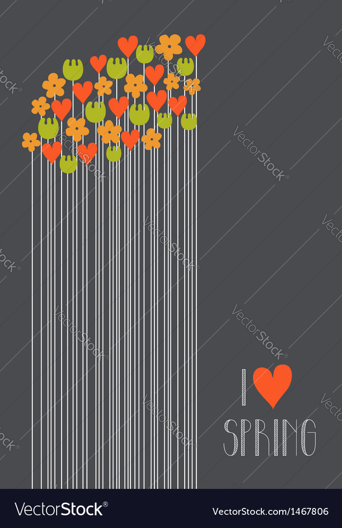 I love spring vector image