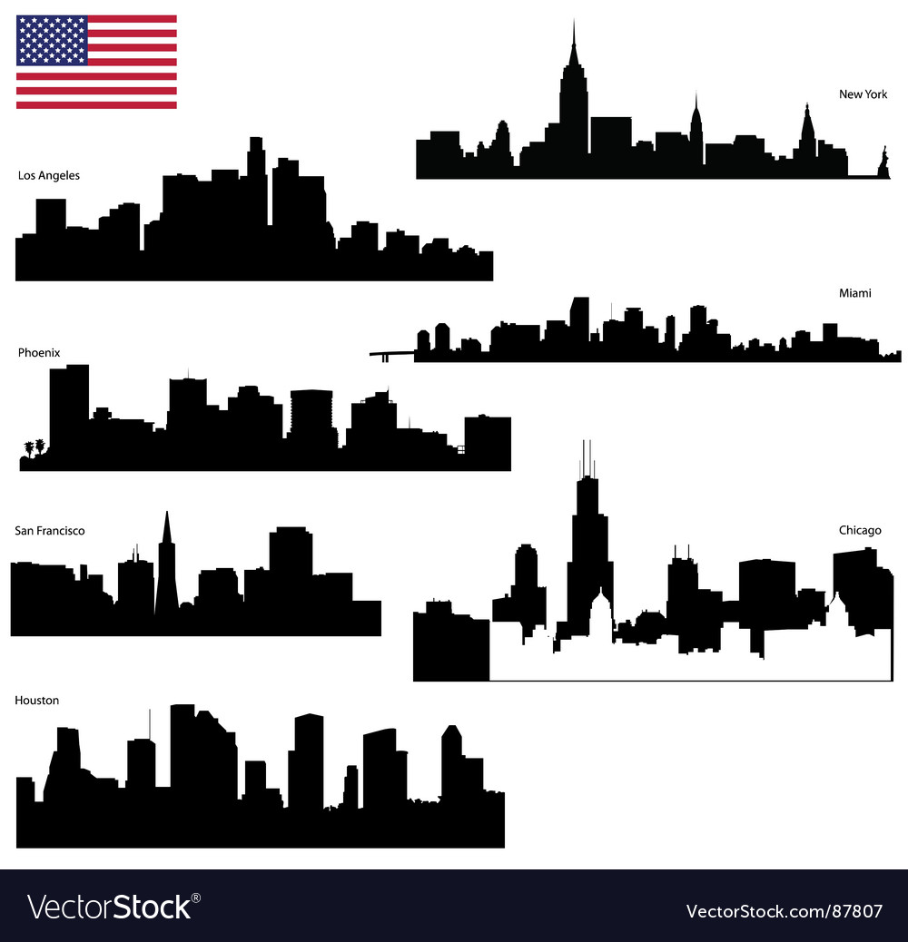 Usa skyline silhouettes vector image