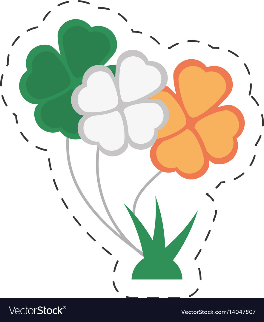 Cartoon bunch clover flag irish st patricks day vector image