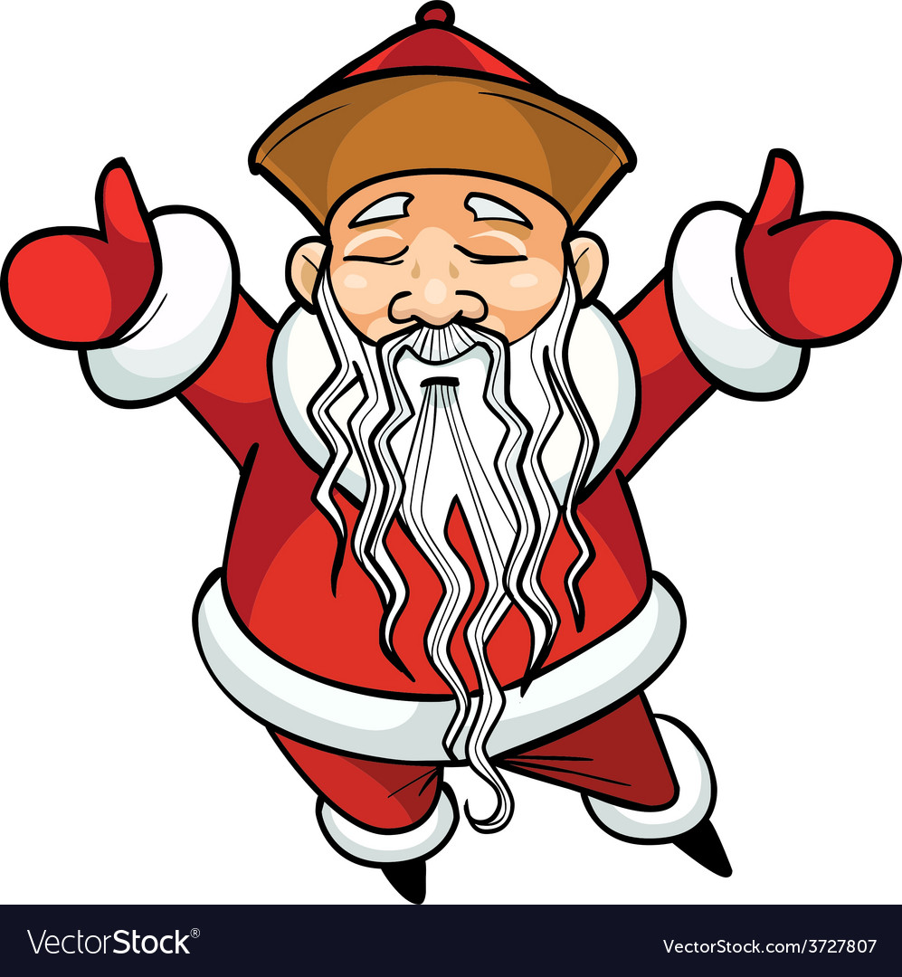 cartoon chinese santa claus standing with his arms