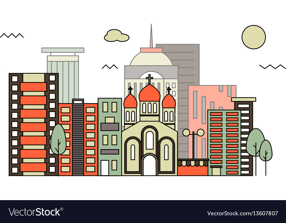 Modern street scenery in flat design style vector image