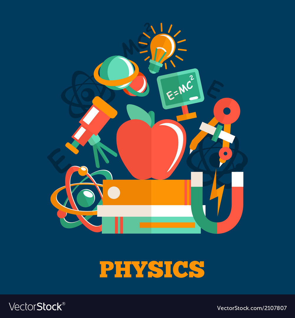 Physics science flat design royalty free vector image for Physics planning and design experiments