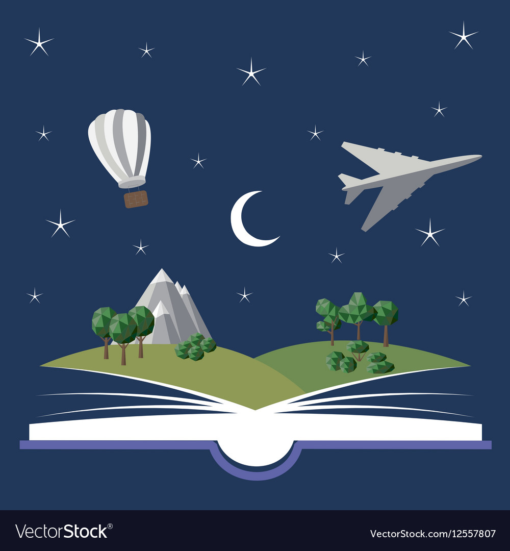 Reading book imagination vector image