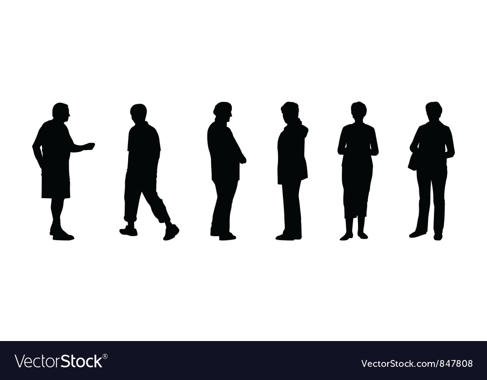 Silhouettes of elderly people vector image