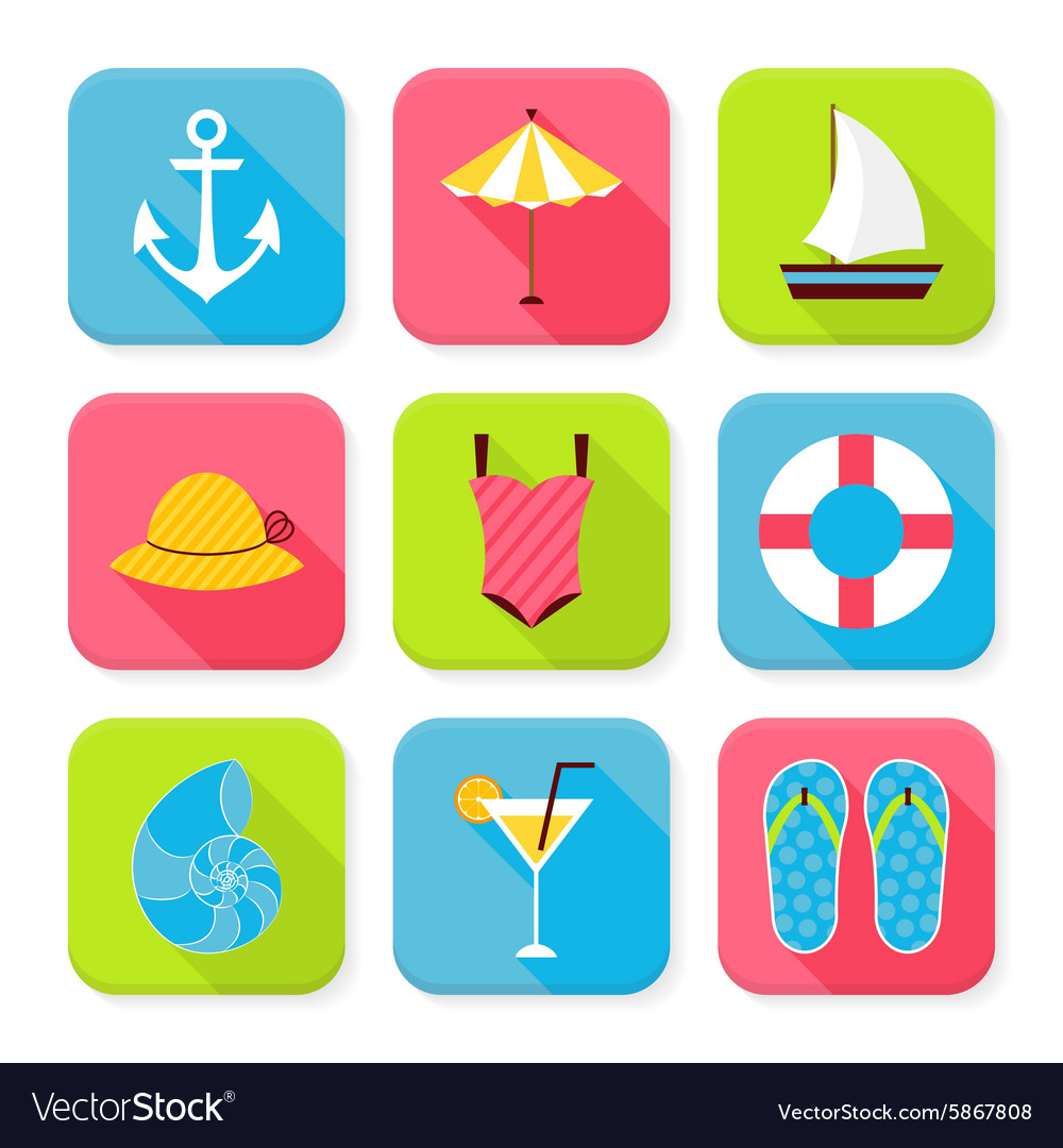 Flat Summer Holidays and Resort Squared App Icons vector image