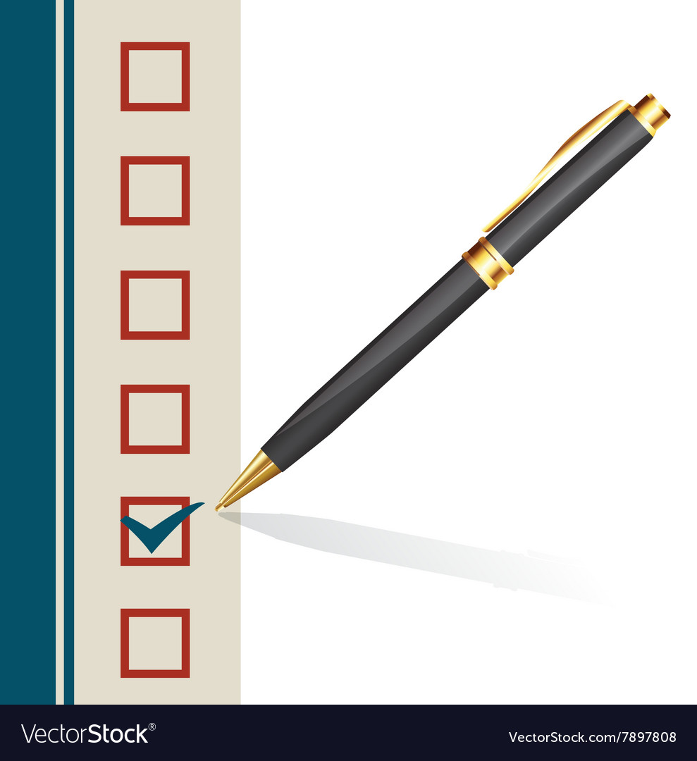 Pen making a mark in a box vector image