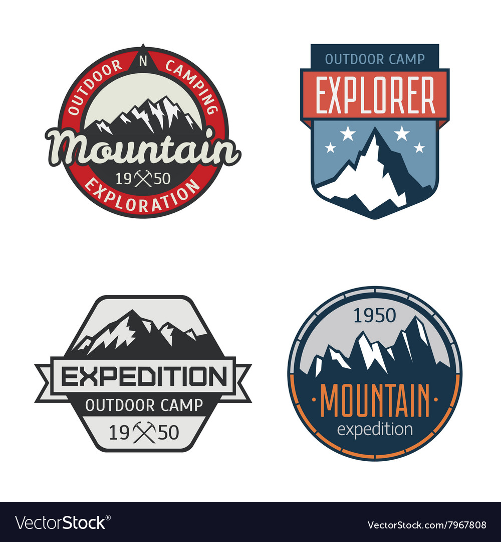 Set of vintage mountain outdoor labels vector image