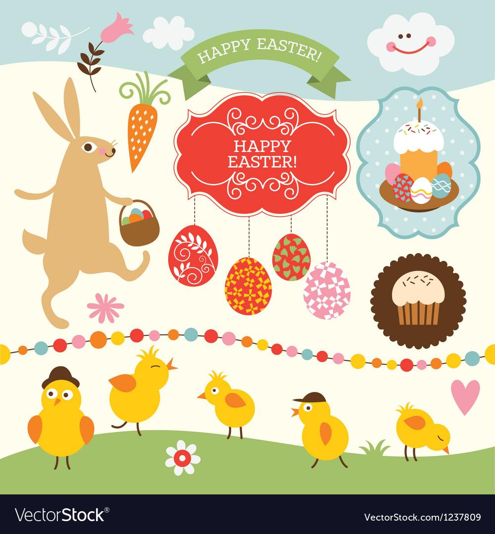 Set of Easter elements vector image