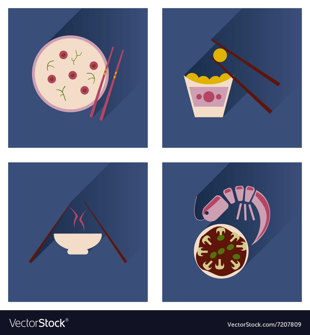 Flat icon collection with shadow Japanese dishes