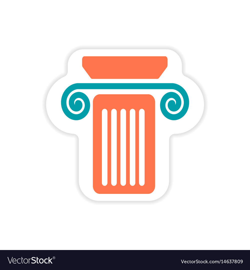 building with columns flat icon with long