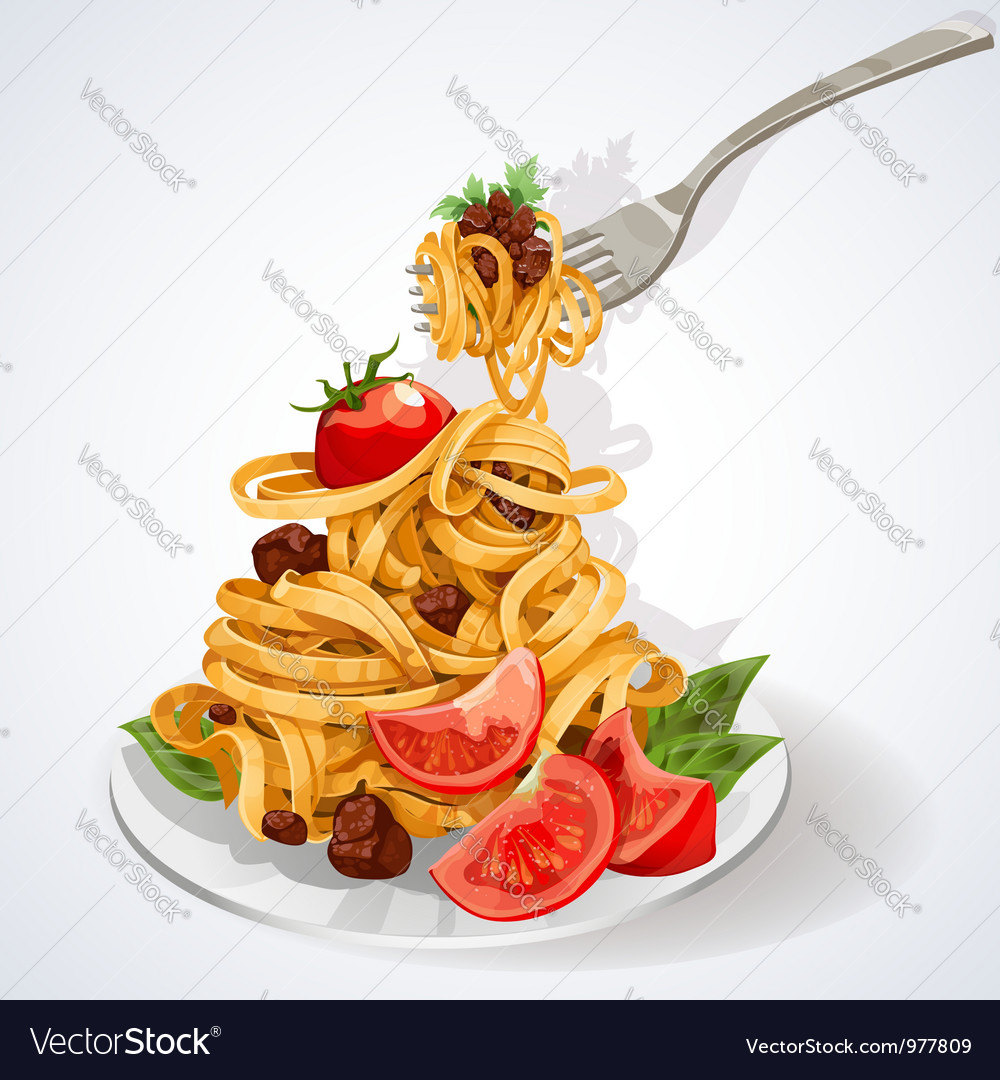 Pasta with tomato and meat sauce vector image