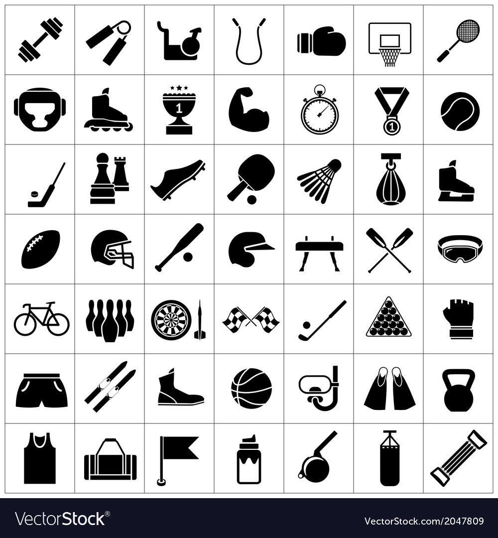 Set icons of sports and fitness equipment vector image