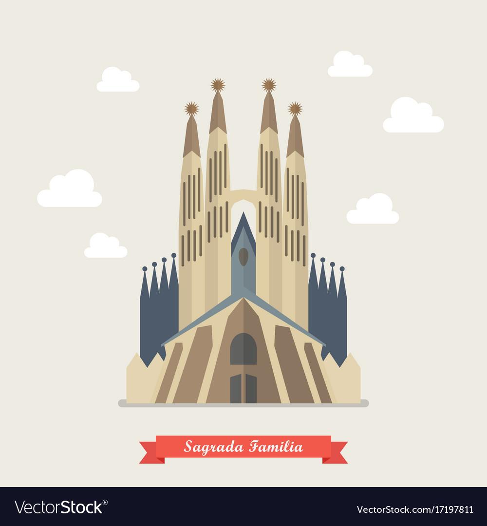 Catholic church sagrada familia vector image
