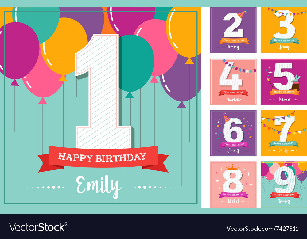 Happy Birthday greeting card with balloons vector image