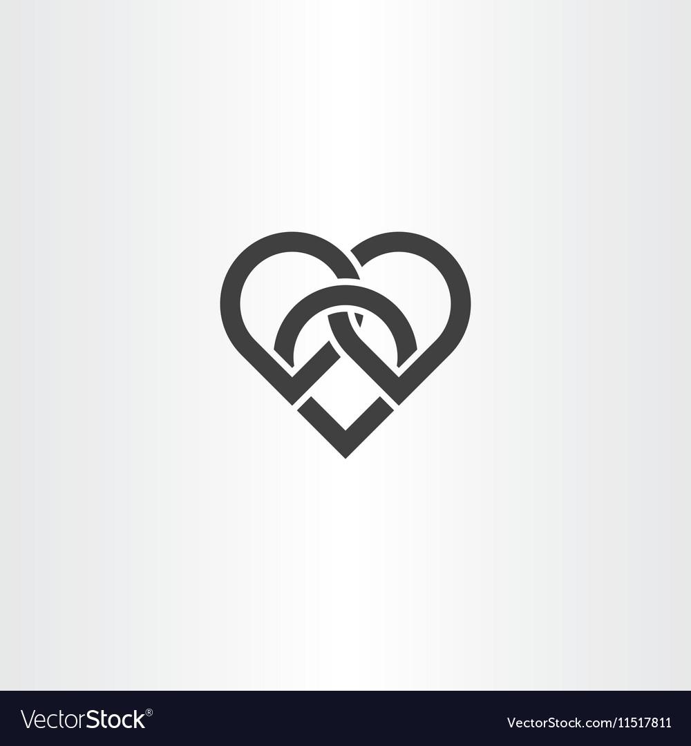Heart knot black icon design vector image