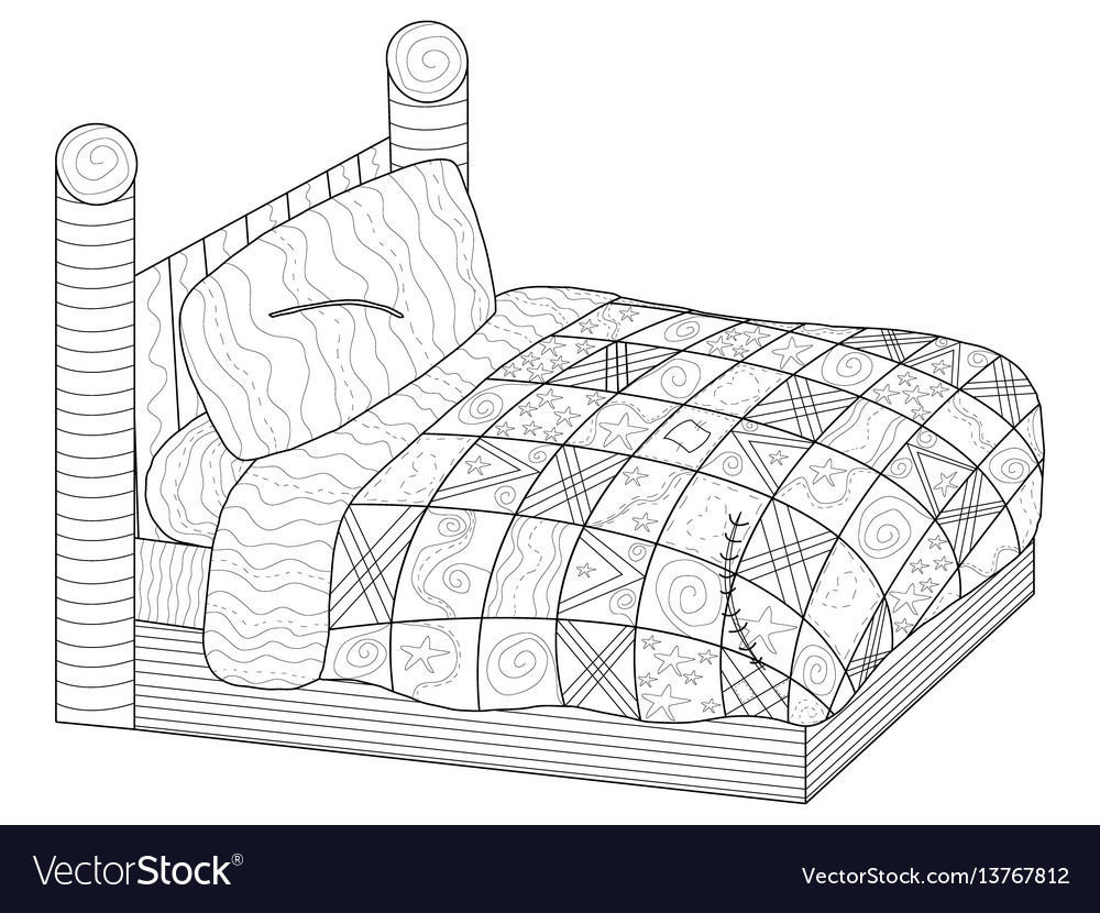 Bed with a patchwork quilt coloring book vector image