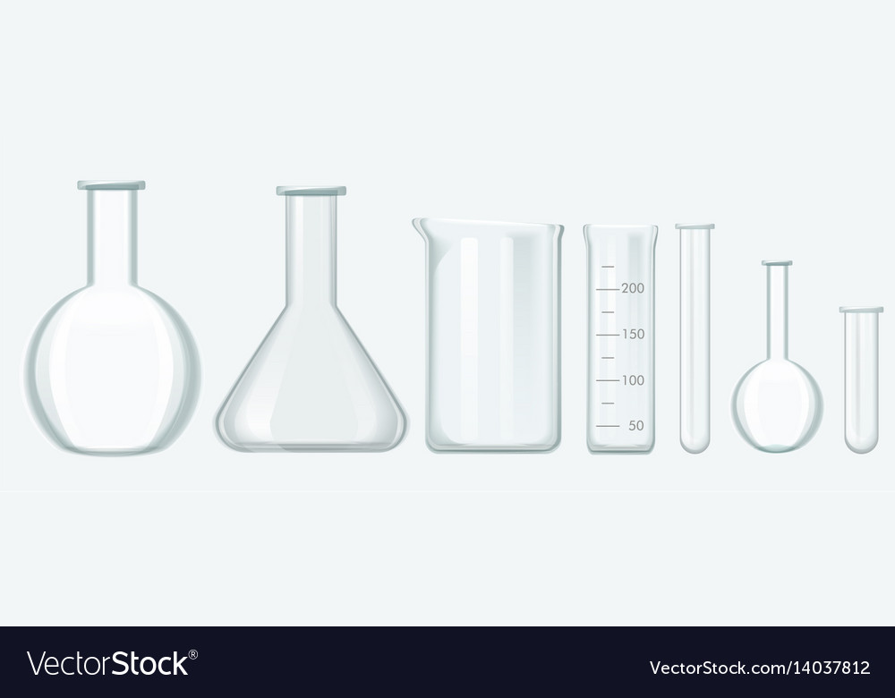 Chemical science equipment set laboratory glass vector image