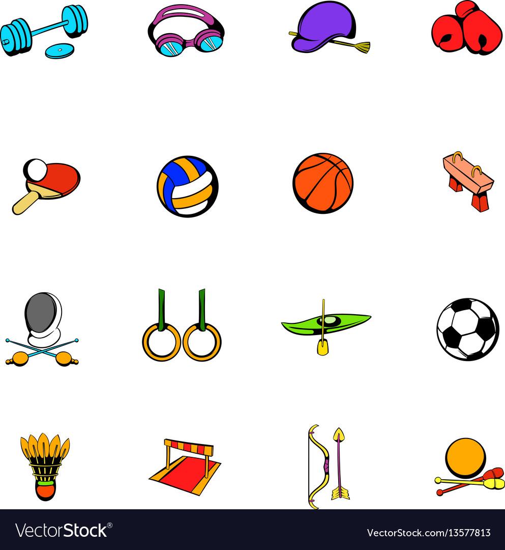 Sports equipment icons set cartoon vector image