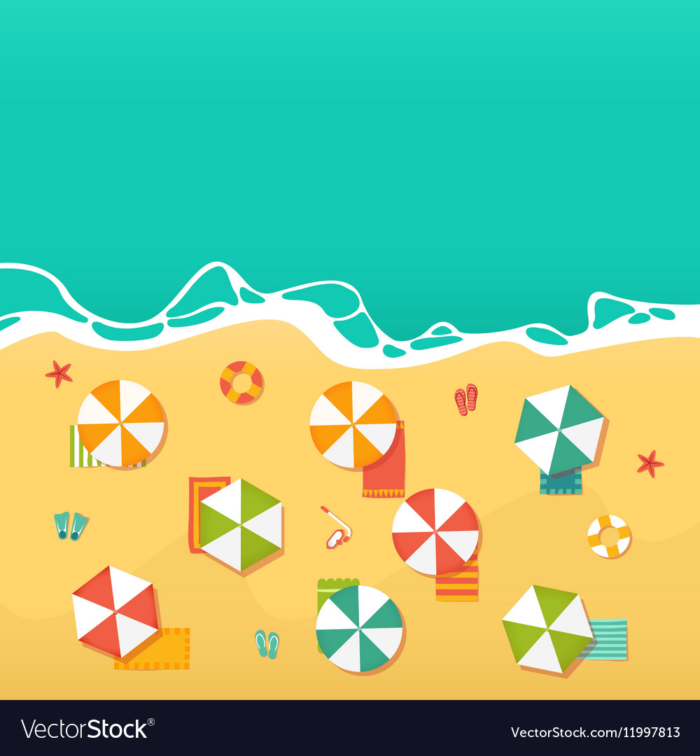 Summer Holidays with beach umbrellas vector image