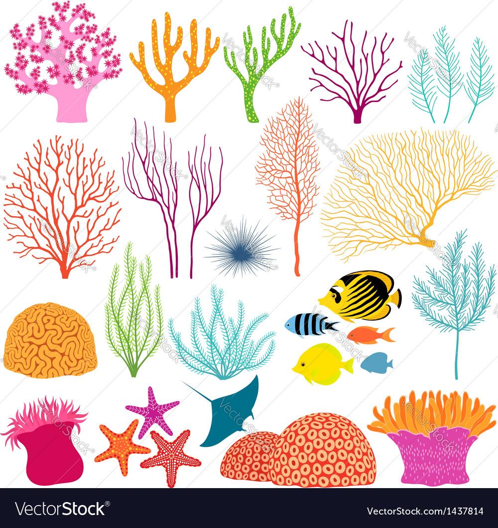 Underwater design elements vector image