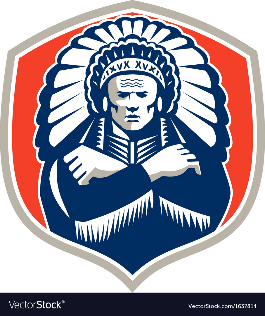 Native American Chief Warrior Headdress Retro vector image