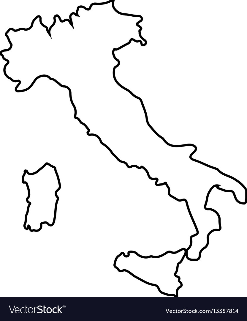 Isolated italian map vector image
