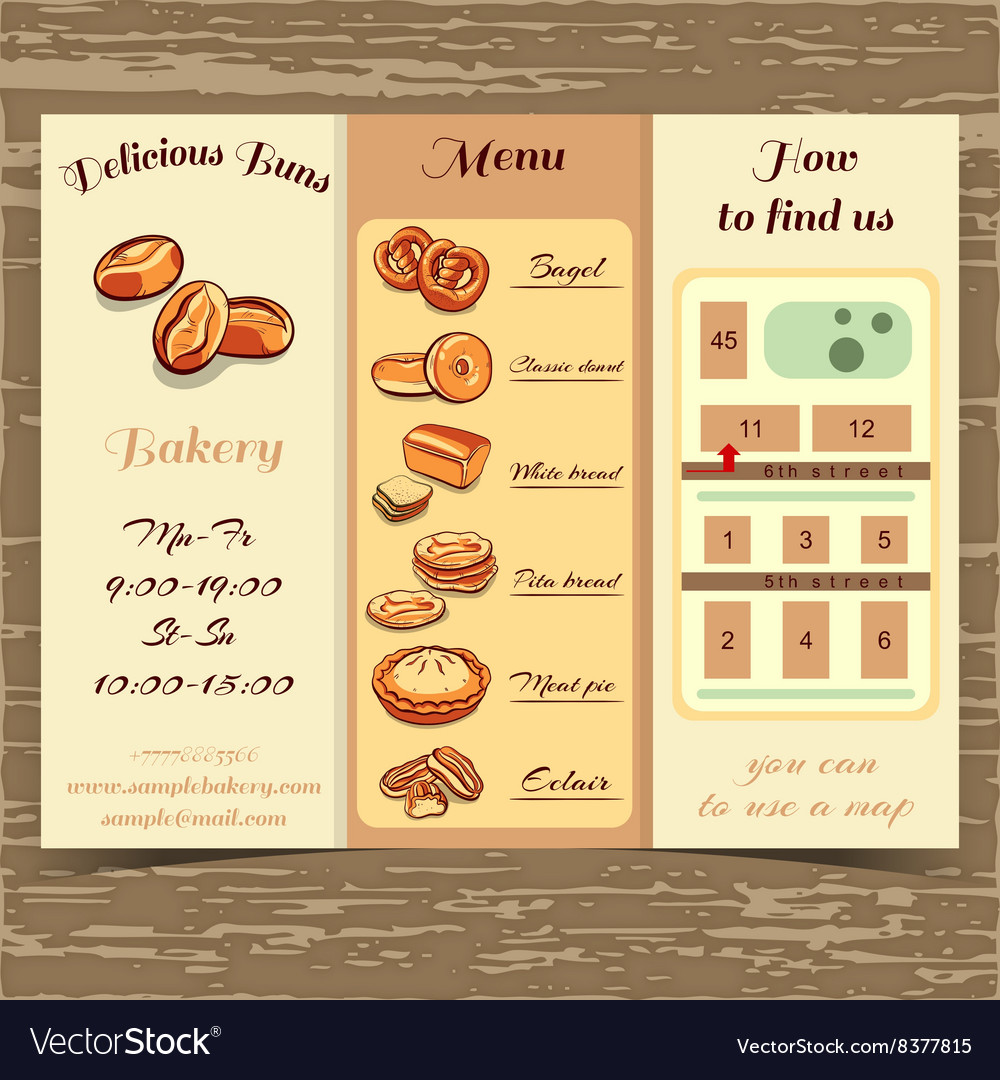 Template Booklet Bakery Royalty Free Vector Image - Bakery brochure template